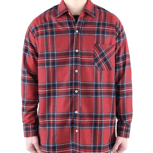 TRMARK OVERSIZE WOVEN CHECK SHIRT RED