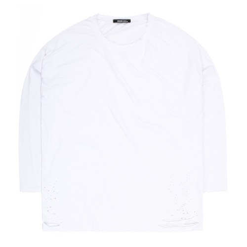 TRMARK BIG SIZE DOTTED DAMAGE TEE WHITE