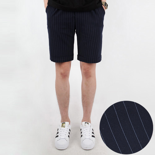 TRMARK STRIPE TURN UP HALF PANTS  NAVY