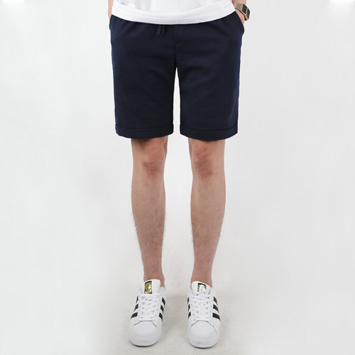 TRMARK SPAN TURN UP HALF PANTS  NAVY
