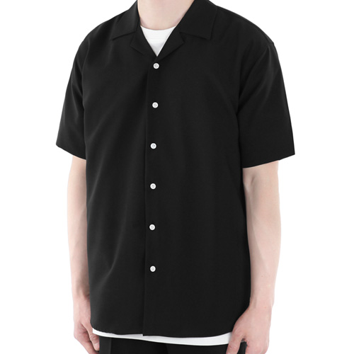 TRMARK NO TIE HALF SHIRT BLACK