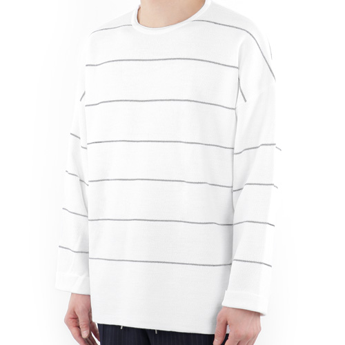 TRMARK OVERSIZE STRIPE TURN UP KNIT WHITE_GRAY