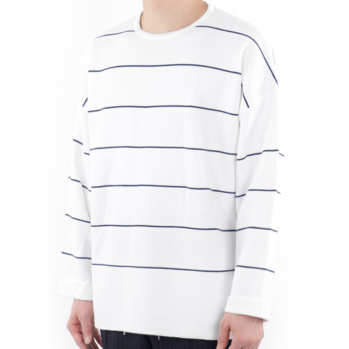 TRMARK OVERSIZE STRIPE TURN UP KNIT WHITE_NAVY