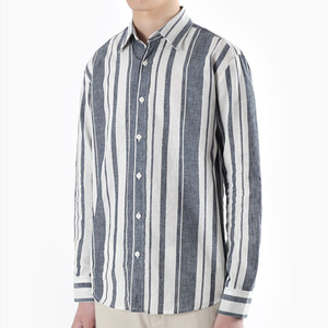 TRMARK ST_005 LINEN STRIPE SHIRT BLUE
