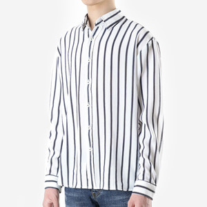 TRMARK ST_006 TICK STRIPE SHIRT WHITE