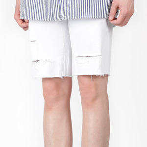 TRMARKCOTTON DAMAGE HALF PANTS WHITE