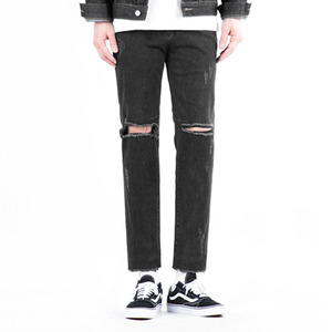 TRMARK DESTROYED BIKER BLACK DENIM BLACK