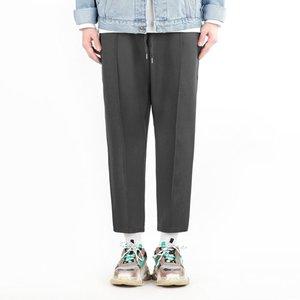 TRMARK WIDE BANDING SLACKS CHARCOAL
