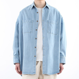 TRMARK BIG OVER RAY DENIM SHIRT L-BLUE