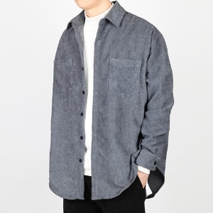 TRMARK OVER FIT CORDUROY SHIRT GRAY