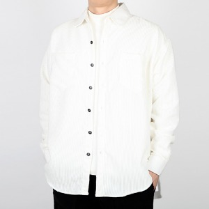 TRMARK OVER FIT CORDUROY SHIRT WHITE