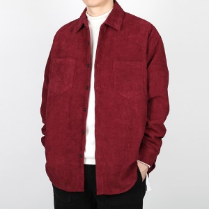 TRMARK OVER FIT CORDUROY SHIRT BURGUNDY