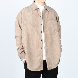TRMARK OVER FIT CORDUROY SHIRT  BEIGE