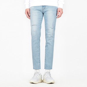 TRMARK WASHING KNIFED DENIM CROP L-BLUE