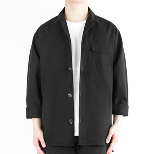 TRMARK PLO_002 LAYERD COTTON SHIRT BLACK
