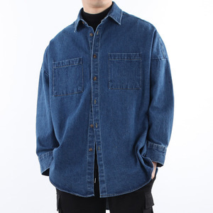 TRMARK BIG OVER RAY DENIM SHIRT BLUE