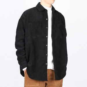 TRMARK OVER FIT CORDUROY SHIRT  BLACK